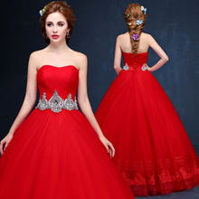 Strapless Wedding Dress 2017 new spring and summer wedding show thin waist dress long Qi red