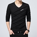 Men's long-sleeved t-shirt men's v-collar cotton winter men's clothes, youth shirt, men's shirt,