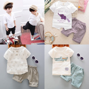 2017 New Kids Boys baby infant clothes children 0-1-2-3-4 years old half summer short sleeved suit