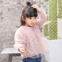 Spring baby girls play shirts at the end of long sleeves lace Floral Sweater sweet Korean wild baby t-shirt