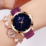 Genuine students watch lady fashion leather waterproof quartz watch leisure simple Star Watch