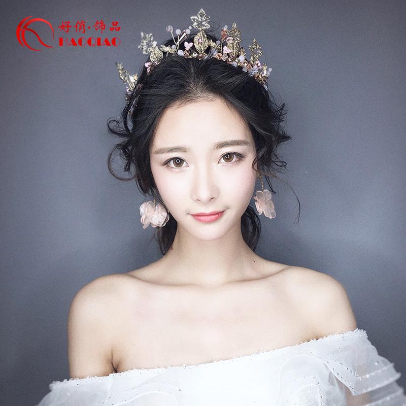 新娘头饰耳环发饰两件套婚礼饰品演出伴娘手工结婚配首饰婚纱配饰