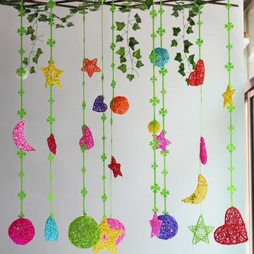 幼儿园挂饰吊饰走廊教室创意批发藤叶条球空中装饰环境创设材料品