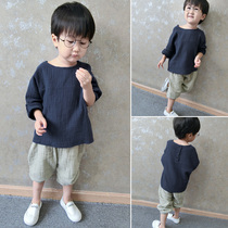 Boys t-spring childrens linen long sleeve t-Korean kids baby boys cotton shirt children shoulder the tide