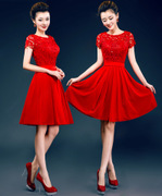 Studio new red bridesmaids wedding photography qipao short toast costume mini dress