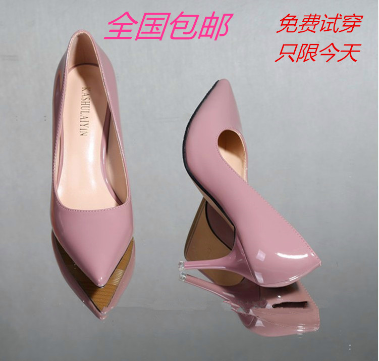 Han edition star with one sexy OL pointed paint single shoes lighter nude pink shoes red wedding shoes