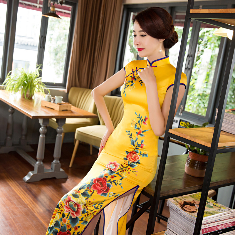Cheongsam, 2016 new autumn cheongsam JianLi beauty long cheongsam improved collar fashion party dresses