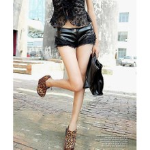 The new lace stitching leather tight shorts female thin boots pants Low Waist Shorts sexy slim pants all-match autumn