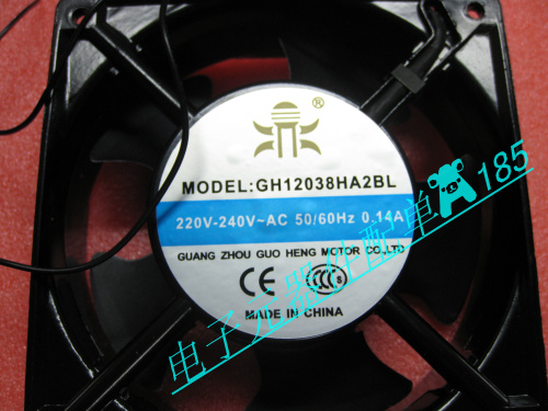 Fan GH12038HA2BL, 220V, 220V-240VAC, 0.14A, 50/60HZ, 2 lines
