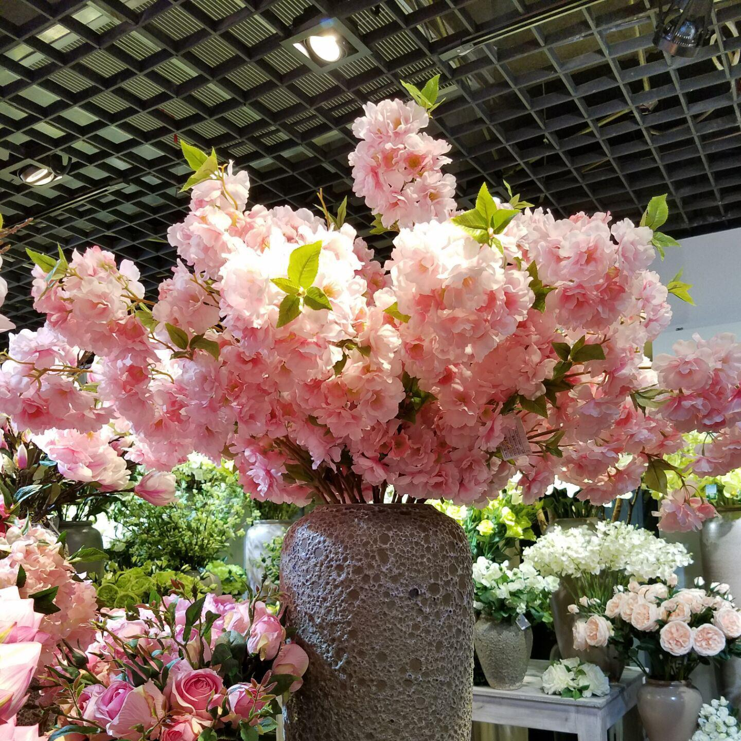 Simulation peach blossom branch plum cherry blossom flowers, silk flowers dried flowers floral landing sitting room decoration decoration during the Spring Festival