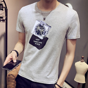 Summer cotton t-shirt men's short sleeve t-shirt t-shirt shirt Korean Short Sleeve Shirt young black and white tide