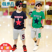 Children dress boy 2017 new cotton short sleeved summer leisure sport suit small children in the summer the baby boom