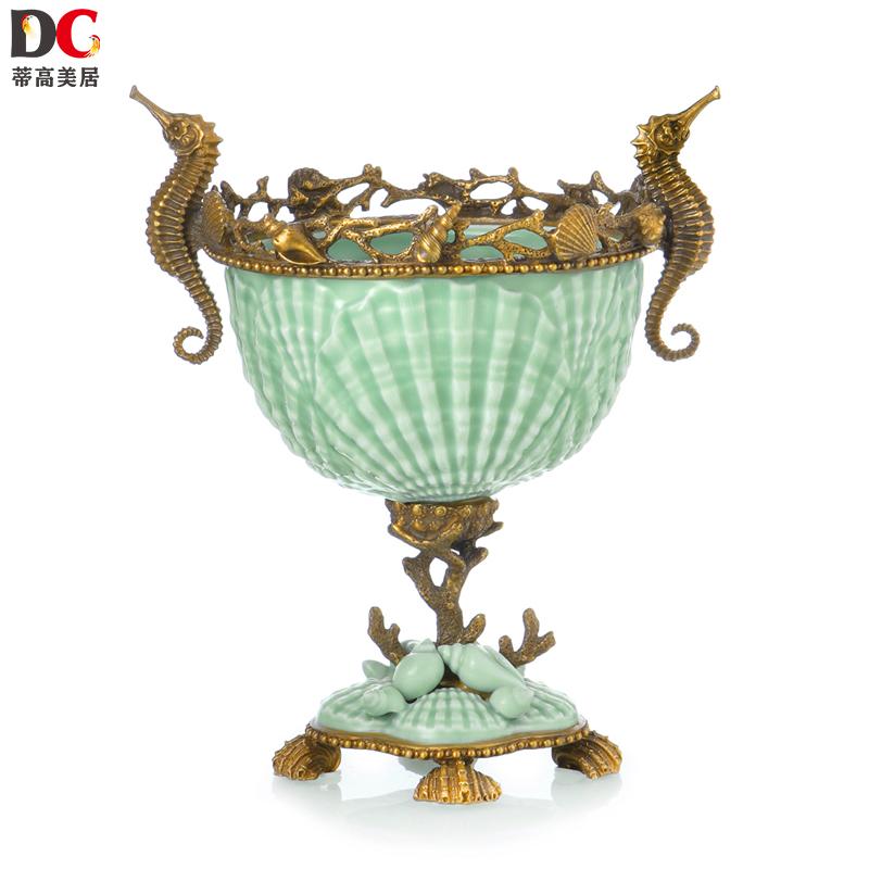 蒂高美居 欧式手贝壳海马创意水果盘茶几桌面装饰盆摆件 183-1288