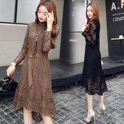 In the spring of 2017. All-match sweet fashion dress long sleeved lace skirt base asymmetrical hem