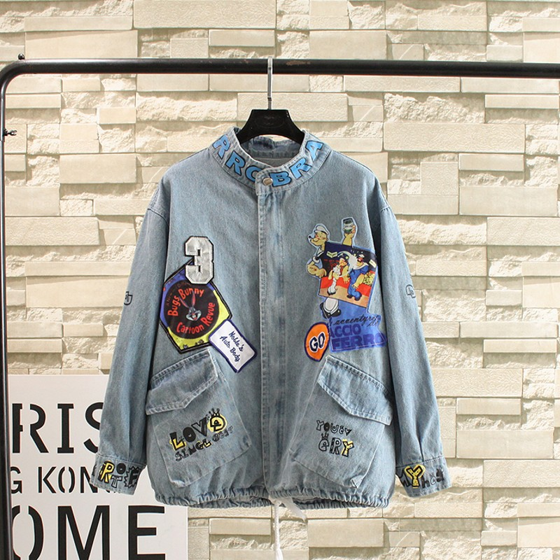 Excellent female student denim jacket plus code was cute cartoon mast Korean fashion jacket slim denim jacket