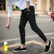 The new spring men's nine male teenagers stretch jeans slim pants 9 feet of Korean male tide
