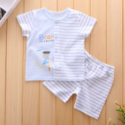 Baby baby clothes and summer two sets of Summer Shorts suit 0-1 old cotton baby clothes.