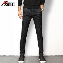 Personality mosaic black jeans men's trousers fall. Slim elastic waist drawstring pants long youth