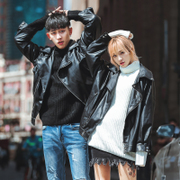 Leather jacket men and women wear fashion thickening cotton locomotive leather coat Japanese version of the men's leather jacket