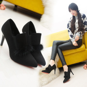 Korean version of the new autumn and winter pointed stilettos female sexy deep suede Plush women shoe all-match shoes tide