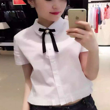 No special occupation 2016 summer new white shirt bow female 5001-300614-116361
