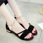 A Korean female student summer sandals all-match 2017 new toe word buckle flat with Rome shoes female summer