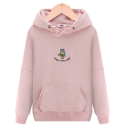 In the spring of 2017 new sweater female hooded velvet embroidery head set loose thin coat Korean students tide