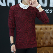 False shirt collar two piece sweater knit shirt sleeve trend of Korean men Dickie personality lead jacket