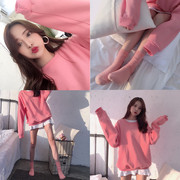 A new Spring Fashion Pink T-Shirt Korean long sleeved loose solid all-match turtleneck sweater female student couples