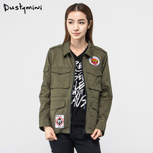 DUSTYMINI in the women's single in the autumn of four bags of green jacket frock coat fashionable thin coat