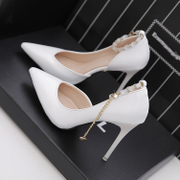 2017 spring and autumn red wedding shoes high heels 11cm high heels single buckle with a pointed tip of the shallow side of the mouth with thin shoes
