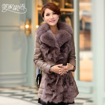 Words next door Haining leather coat woman long bi-fold leather fur fox fur collar down jacket fur