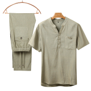 Tibetan silk linen suit male father leisure thin summer wind in elderly male costume Chinese loose short sleeved clothes