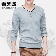 2 pieces of Korean male V hoodies sweater collar men's T-shirt, long sleeved sweater slim DP male youth tide