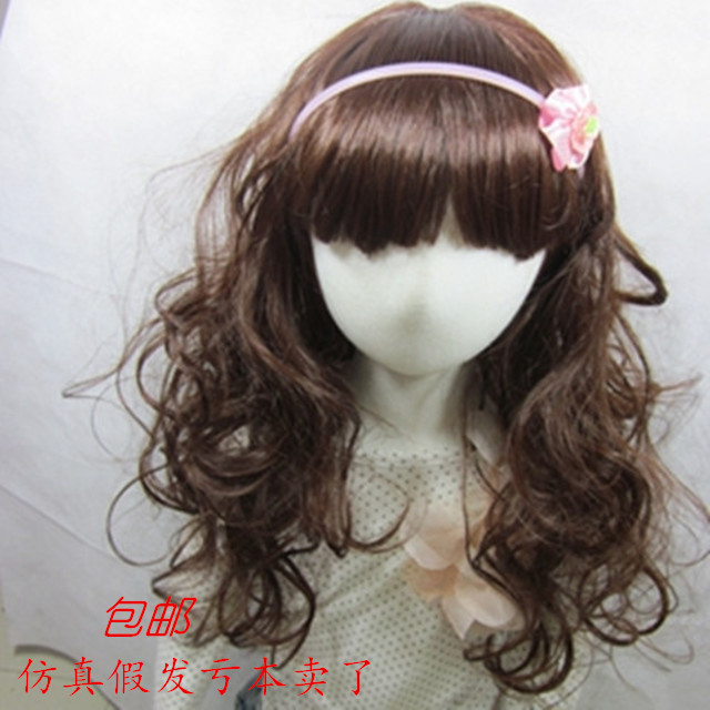 Children with long curly hair wig hair curly hair long hair Princess Baby Infant Girls hair wave simulation