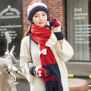 Siggi hat scarf glove three piece female autumn winter Korean tide cute bow plus velvet warm suit