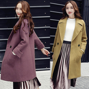 Mohair add cotton thickening tit is long woolen cloth coat whom 2016 new Han Fan clip cotton coat in winter