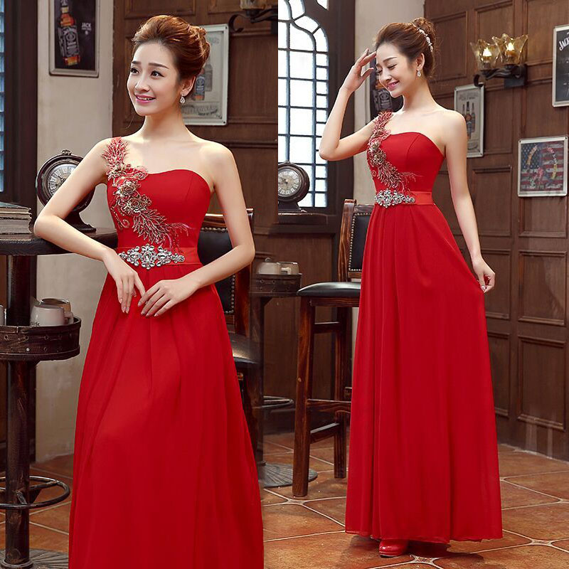 Show thin red strapless bridesmaid wedding gowns with hosting the annual meeting of the single shoulder long take female in the autumn of 2015 new toast