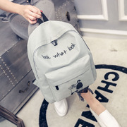 Korean style new simple fashion leisure bag men and women high school students school bag canvas pure small backpack