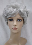 In the old grey white wig short curly hair show mother grandmother stage props wig cosplay