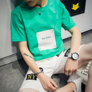 Men's short sleeve, 2017 new summer personality T-shirt, trend Korean, loose sleeve, T-shirt, clothes, white