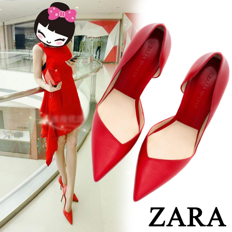 Autumn new light/shoes/leather pointy high heels stiletto shoes/sexy bride red wedding shoes