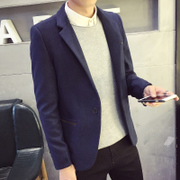 Men's casual suit coat suits in the long wool coat young slim small suit then West tide
