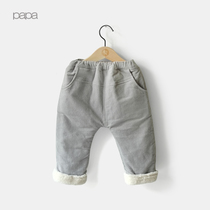 Papa fall winter climbing imitation cashmere baby PP pants baby corduroy padded warm autumn 0-3