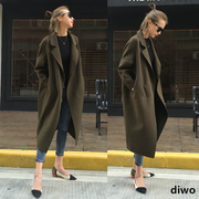 Diwo 2016 Adidas cashmere long cocoon coat female knee loose woolen jacket 7081