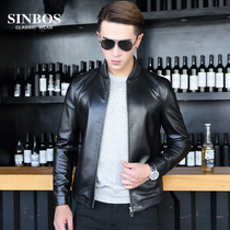 SINBOS spring and autumn Haining leather slim Sheepskin leather mens baseball uniform thin motorcycle leather jacket mens jacket