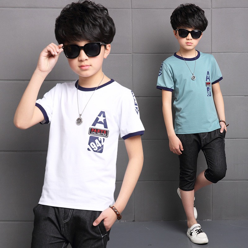 2017 boys summer A word labeling, T-Shirts, short sleeved suit, big boy, new sports casual jeans, two sets