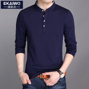 The fall of man long sleeve shirt male cotton cashmere T-shirt collar with slim young men's warm autumn thick tide