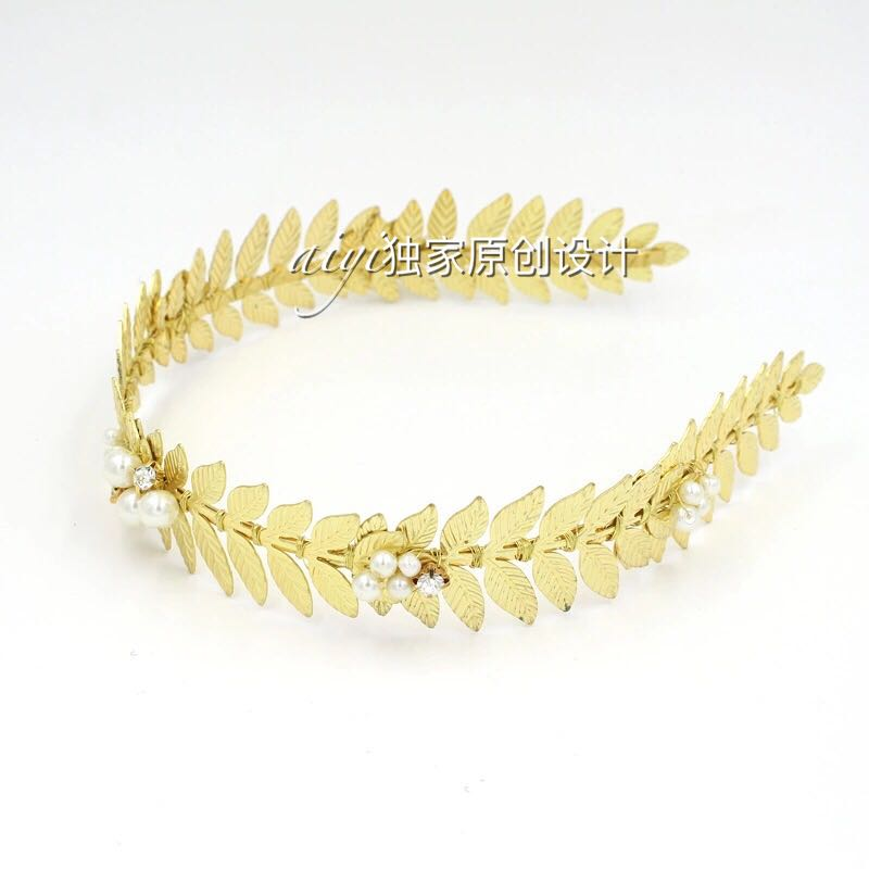 Europe and the golden leaves hair olive leaf pearl retro headband Chinese Bride Costume Coronet Tiara