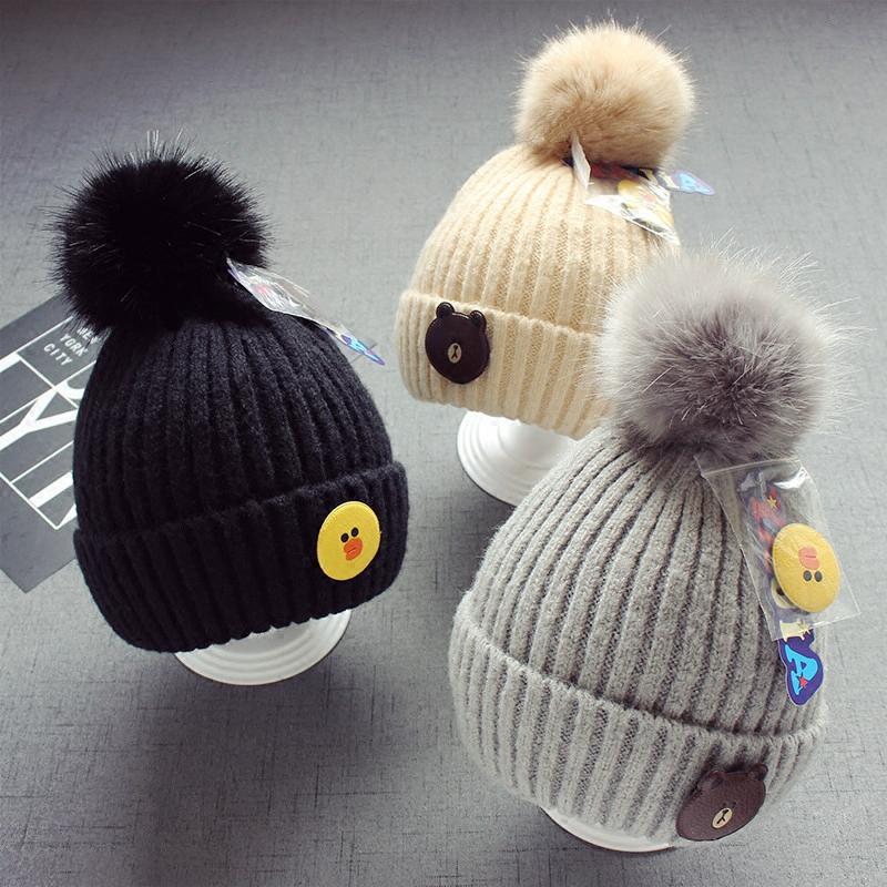 秋冬5个月-2岁宝宝儿童加厚毛线帽子韩版贴标毛球帽子卡通套头帽